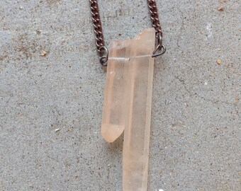 Two Rose Crystal or Quartz Necklace