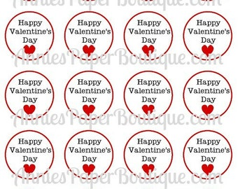 Round Valentine's Day Tags, Happy Valentine's Day, Valentine - Printables, Digital Download - For Treat, Candy, Favor, School
