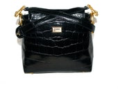 FERRE Vintage Gold Claw Foot Handbag Tote Black Croc Embossed Leather - AUTHENTIC -