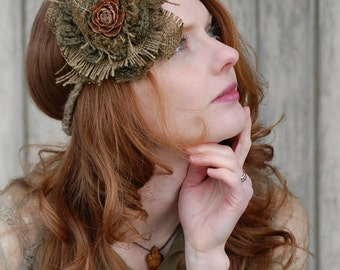 Rustic Woodland Headband Headpiece Moss Pinecone Elf  Fairy