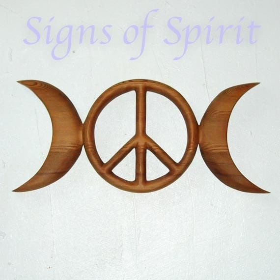 Triple Moon Peace Symbol-Celtic Goddess-Wiccan Pagan Peace Sign