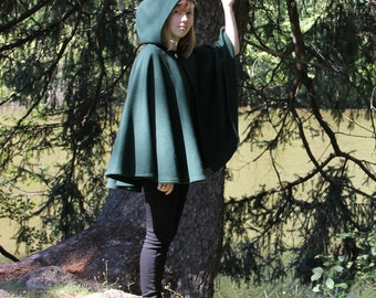 Spruce Green Cape - Wool Cape - Mid-Length Cape - Cape With Hood - Hooded Cape