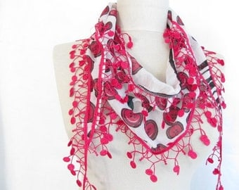 Cherry scarves-Guipure Scarf-Cotton scarf-pink scarf - asuhan