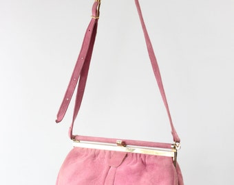 Pink Rose Suede Kiss-lock Purse