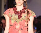 Red Rose Leather Statement Necklace