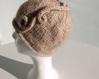 Hand knit beanie hat with textured detail