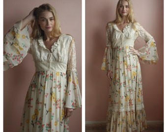 Ethereal Maxi Dress / Haute Hippie Lace and Cotton Maxi Gown / Cream Lace with Floral Print Sheer Chiffon Skirt