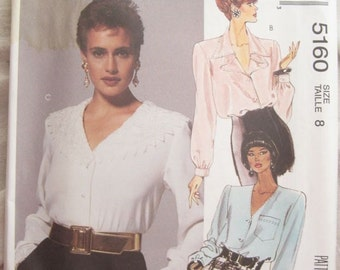 1990s McCall's 5160 Button Front Long Sleeve Blouse Sewing Pattern Statement Collar Bust 32