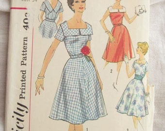 Simplicity 3044 Collared 1950s Rockabilly Dress Vintage Sewing Pattern Bust 34