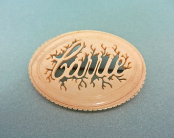 Vintage Carrie name pin