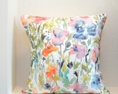 Touch of Indigo Watercolor Flowers Pillow Cover, Designer Watercolor Fabric, Sizes 18x18, 20x20, 24x24 Pillow Cover, Watercolor Home Decor