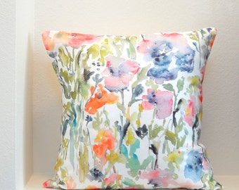 As Seen In HGTV Magazine! Touch of Indigo Watercolor Flowers Pillow Cover, Designer Watercolor Fabric, Pillow Cover