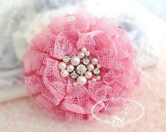 NEW: The Sunridge- 2 pcs 3 inch MISTY PINK Ruffled Lace Fabric Flowers w/ rhinestones pearls center for Bridal Sashes, Hair Accessories
