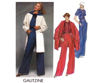 70s GALITZINE Sailor Collar Jumpsuit & Jacket Pattern Vogue Designer Original 1603 Vintage Sewing pattern Size 16  Bust 38 inches UNCUT FF