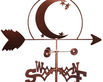 Hand Made Crescent Moon & Star Weathervane NEW