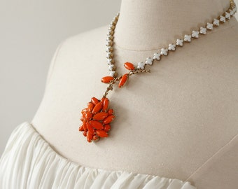 Orange You Glad Spring is Nearly Here? Vintage Art Deco Rhinestone Daisy Necklace.