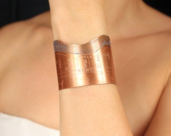 Bayou St. John Etched Copper New Orleans Jewelry - Cuff Bracelet of Historical Map