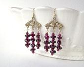 Garnet Earrings, Gold Chandelier, Fleur de Lis, Gemstone Jewelry, Burgundy Wine, January Birthstone, Garnet Nugget,  682