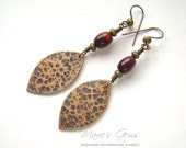 Hammered Bronze Earrings, Red Tiger Eye, Wire Wrapped, Tribal Jewelry, Primitive, Animal Print Earrings, Oxidized Bronze, 841
