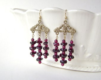 Garnet Earrings, Gold Chandelier, Fleur de Lis, Gemstone Jewelry, Burgundy Wine, January Birthstone, Garnet Nugget,  682