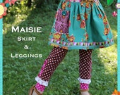 Girls PDF Sewing Pattern - Maisie Skirt and Leggings Pattern, Size 6 Month - 10 Years by The Cottage Mama