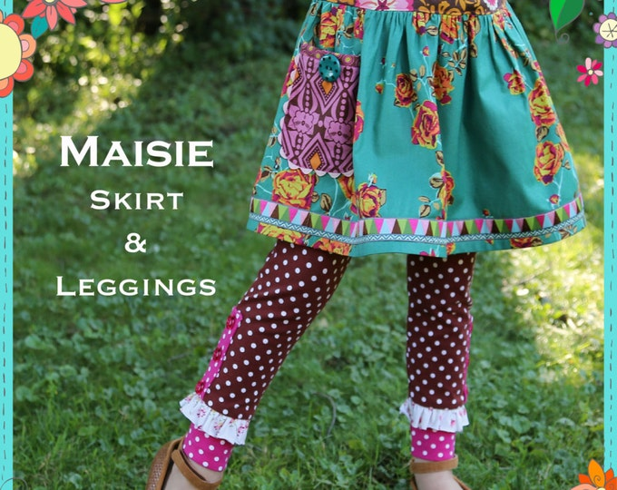 PDF Sewing Pattern - Maisie Skirt and Leggings Girls Pattern, Size 6 Month through 10 Years