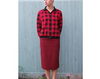 Red and Black Houndstooth Print Top - Vintage Blouse / Jacket - Medium / Large