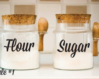 Kitchen Canister Decals - Flour Sugar Decals - Canister Vinyl Decals - Kitchen Decals - Canister Decals Only