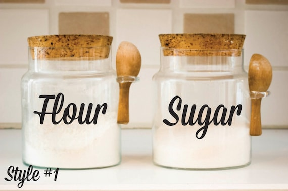 kitchen canisters flour sugar kitchen canister decals flour sugar decals canister vinyl 19297