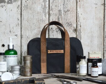 Monogram Waxed Canvas Dopp Case, Black Coal, Dopp Kit, Travel Bag, Toiletries Case, Travel Case, Shave Kit, Personalized Gift, Gift for Him
