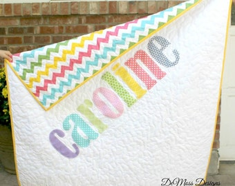 Personalized Name Quilt, Appliqued Quilt, Monogrammed Baby Quilt, Custom Made