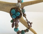 FREE SHIPPING Nest Bracelet with Jasper, Ceramic, and Howlite Beads