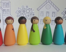 Wood peg doll set of 9 little rainbow dolls - Hand painted, all natural toy
