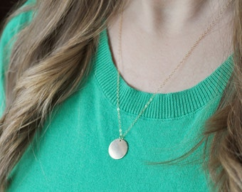 Large Gold Disc Necklace - gold filled dot round charm 5/8 inch circle pendant modern classic - simple & sweet gift everyday jewelry