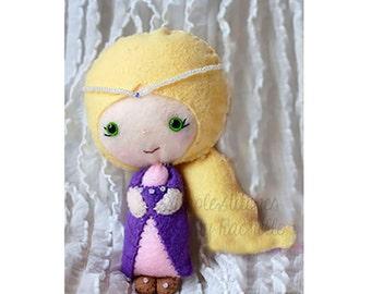"Rapunzel Felt Doll - 4-3/4"" Handmade Miniature Doll - Made to Order - Fairy Tale Doll - Tangled - Gingermelon Doll"