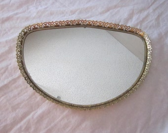 vintage mirrored tray - dresser tray, filigree, display, vanity, unique shape