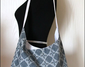 dem Bones Checkerbone Organic Cotton Hobo Bag with White Canvas lining Purple and Pink accents
