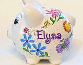 Piggy Bank Personalized with Purple Pink and Yellow Flowers and Butterflies