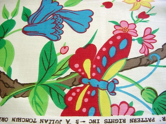 Vintage Julian Tomchin Bold Floral Fabric By Fabuloustextiles