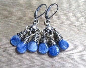 Blue Kyanite Chandelier Earrings Wire Wrapped in Sterling Silver,  Blue Stone Dangle Earrings, Kyanite Jewelry, Healing Stone