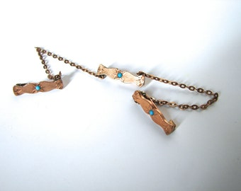 Vintage Victorian Collar Pins Stays chatelaine Tie Pin Gold Chains and Turquoise - on sale