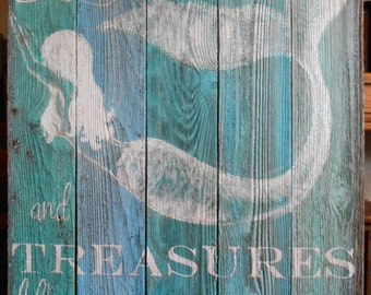 Made to order 4 Foot Barnwood Mermaid Sign, Hand Painted, Original, Glittered, Beach Painting