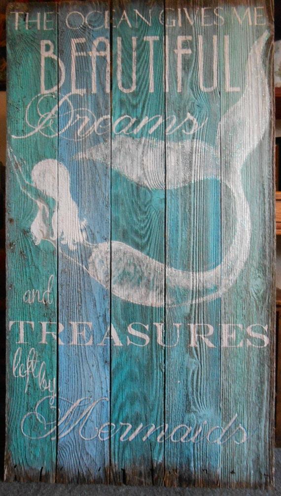 4 ' Mermaid Sign MADE TO ORDER 4 Foot Barnwood Hand