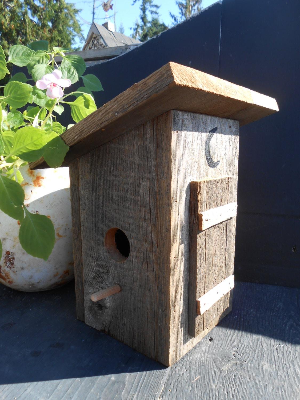 Outhouse birdhouse barn wood bird house reclaimed wood for Wooden bird house plans