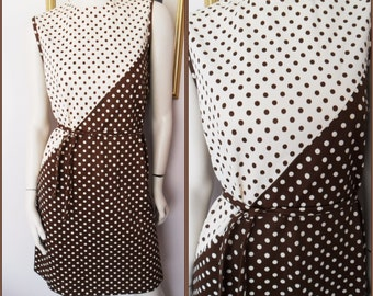 Vtg.60s Brown and Cream Polka Dot Spotted Belted Mod Mini Dress.M.Bust 36-38.Waist 38.