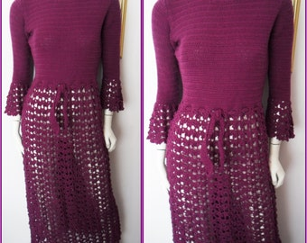 Vtg.60s Plum Crochet Open Knitted Bell Sleeve Maxi Dress.S/M.Bust 36-40.Waist 28-32.