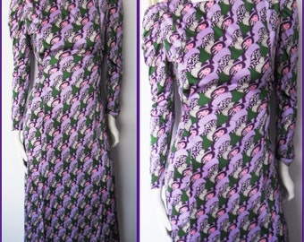 Vtg.60s Art Deco Purple Novelty Lady Print Silky Maxi Dress.M.Bust up to 40.Waist up to 34