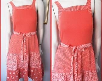 Vtg.70s Red White Dots Flowers Prairie Sun Dress.S.Bust 34-36.Waist 28-30.