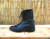 Lace-up Paddock Black Leather Riding Cowgirl Ankle Boots Booties w/ Red Tassels Fringe 7.5