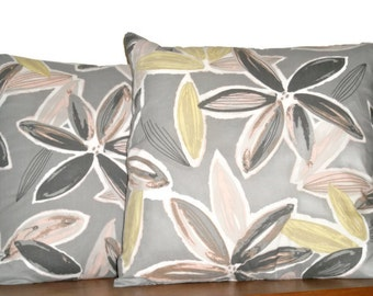 """Starflower Cushion Covers in Print Cotton by Australian Fashion Designer Gorman to Fit 50cm / 20"""" Pillow Grey Charcoal Mustard Yellow Pink"""